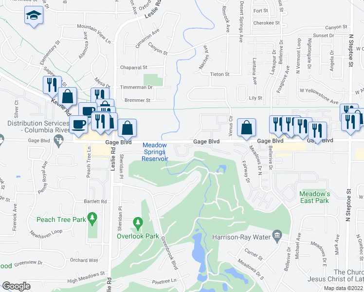 map of restaurants, bars, coffee shops, grocery stores, and more near 303 Gage Boulevard in Richland