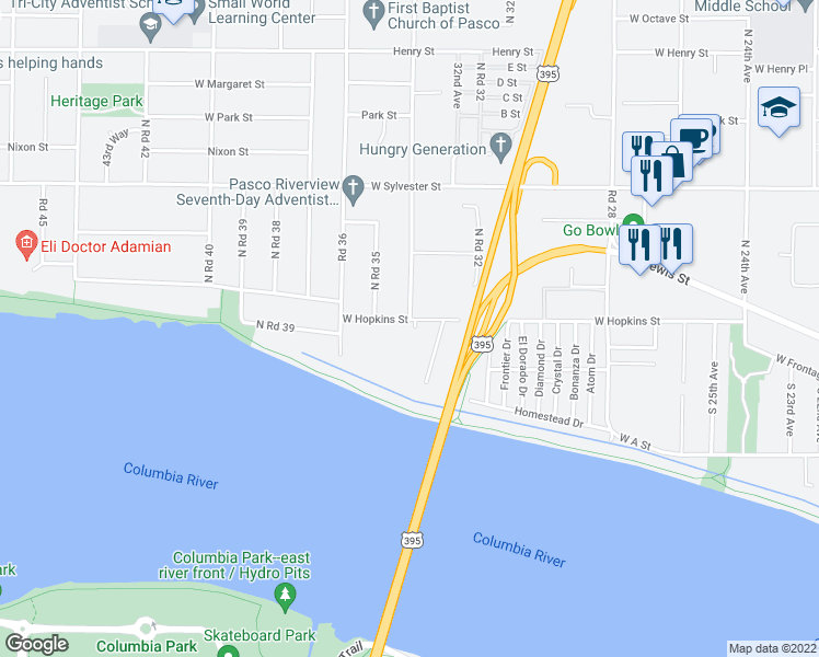 map of restaurants, bars, coffee shops, grocery stores, and more near 3320 West Hopkins Street in Pasco