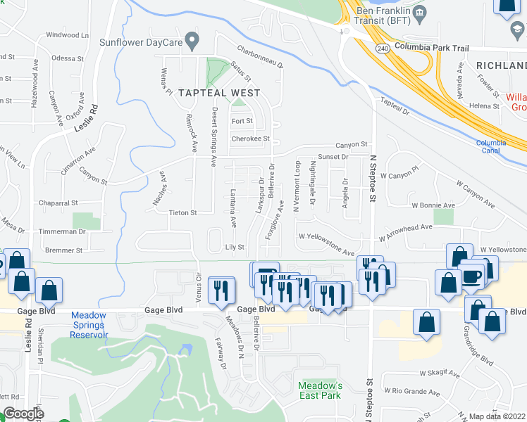 map of restaurants, bars, coffee shops, grocery stores, and more near 1580 Brittlebush Lane in Richland