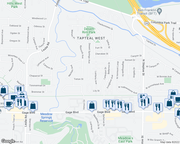 map of restaurants, bars, coffee shops, grocery stores, and more near 1536 Desert Springs Avenue in Richland