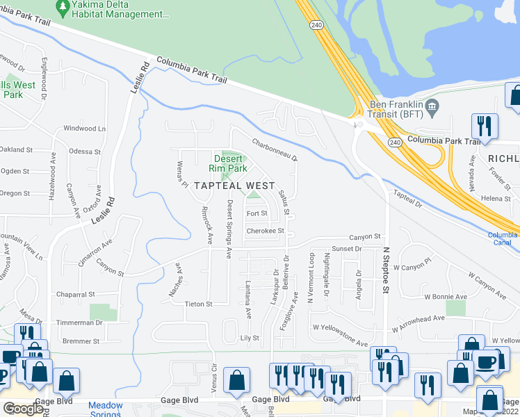 map of restaurants, bars, coffee shops, grocery stores, and more near 540 Fort Street in Richland