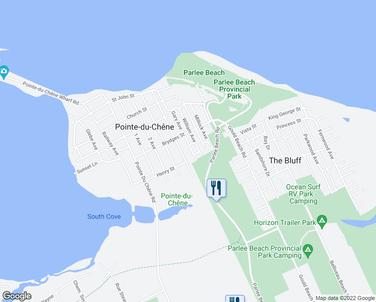 map of restaurants, bars, coffee shops, grocery stores, and more near 14-24 Gary Avenue in Pointe-du-Chêne