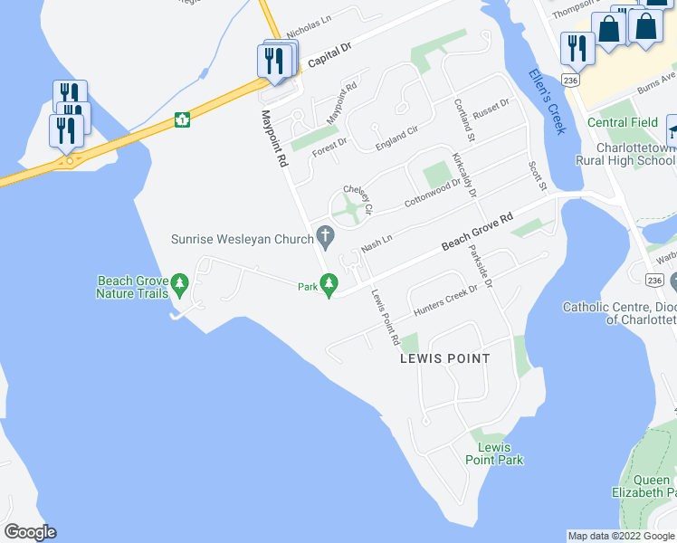 map of restaurants, bars, coffee shops, grocery stores, and more near 20 Maypoint Road in Charlottetown