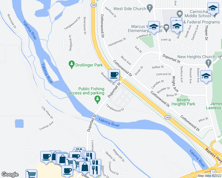 map of restaurants, bars, coffee shops, grocery stores, and more near 2550 Duportail Street in Richland