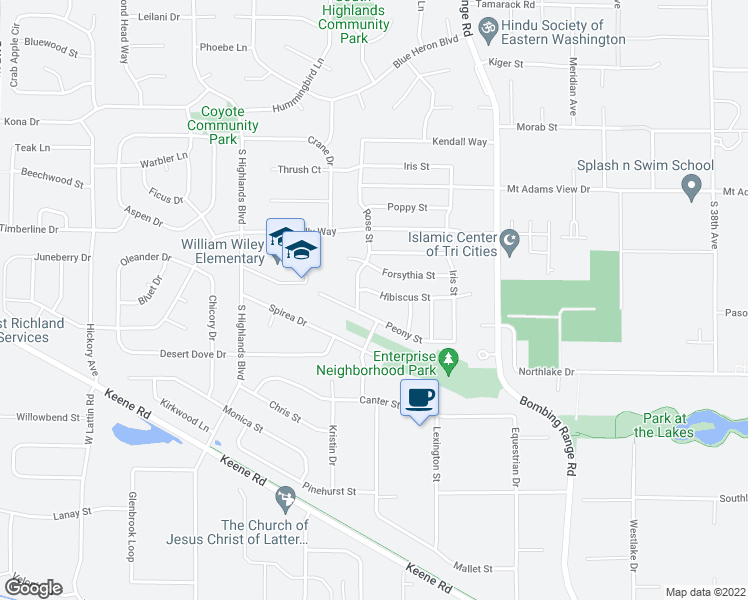 map of restaurants, bars, coffee shops, grocery stores, and more near 4837 Hibiscus Street in West Richland