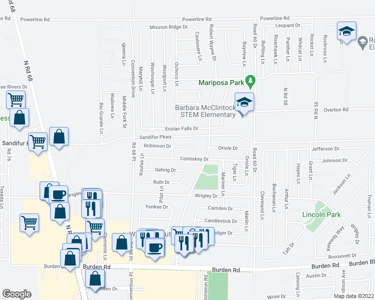 map of restaurants, bars, coffee shops, grocery stores, and more near 6412 Robinson Drive in Pasco