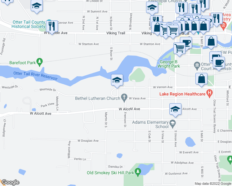 map of restaurants, bars, coffee shops, grocery stores, and more near 610 Hillcrest Drive in Fergus Falls