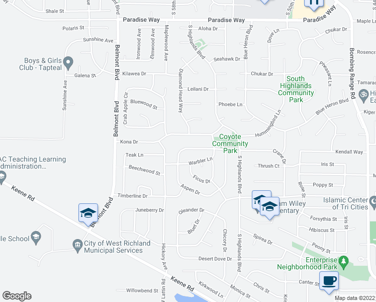 map of restaurants, bars, coffee shops, grocery stores, and more near 5607 Mulberry Drive in West Richland