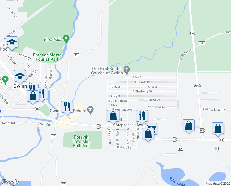 map of restaurants, bars, coffee shops, grocery stores, and more near 23 East Blueberry Street in Gwinn