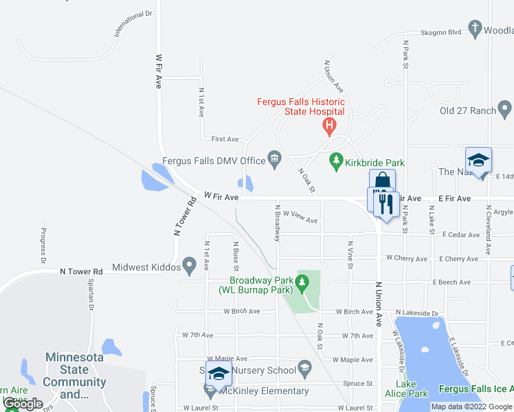 map of restaurants, bars, coffee shops, grocery stores, and more near 623 West Fir Avenue in Fergus Falls
