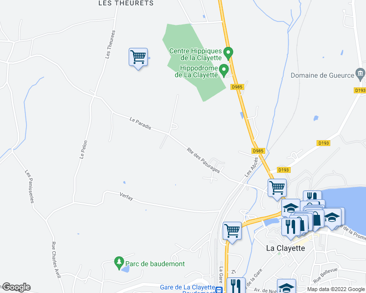 map of restaurants, bars, coffee shops, grocery stores, and more near 13 Route des Pâturages in Baudemont