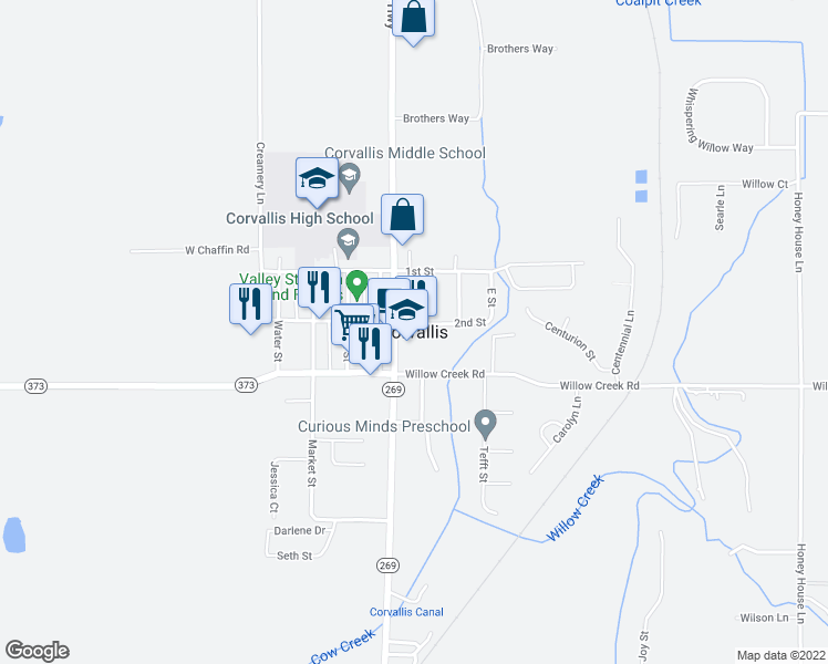 map of restaurants, bars, coffee shops, grocery stores, and more near in Corvallis