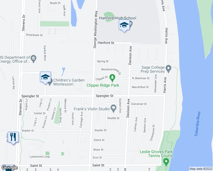 map of restaurants, bars, coffee shops, grocery stores, and more near 417 Sailfish Court in Richland