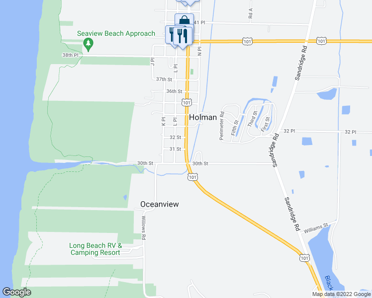 map of restaurants, bars, coffee shops, grocery stores, and more near Pacific Way & 31 Street in Pacific County