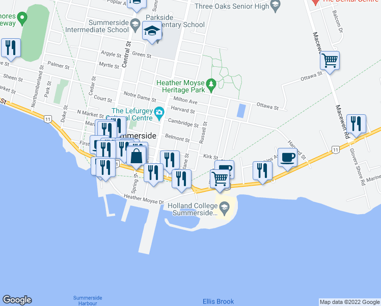map of restaurants, bars, coffee shops, grocery stores, and more near 49 Eustane Street in Summerside