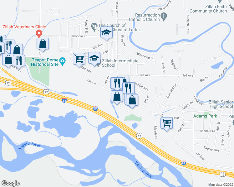 map of restaurants, bars, coffee shops, grocery stores, and more near in Zillah