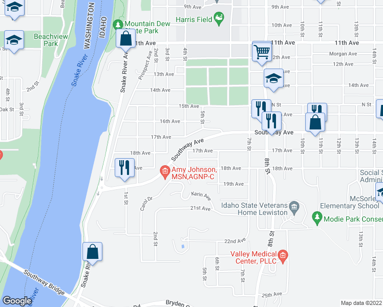 map of restaurants, bars, coffee shops, grocery stores, and more near 506 17th Avenue in Lewiston