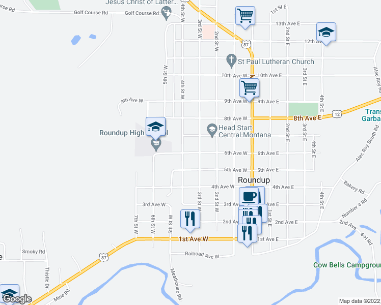 map of restaurants, bars, coffee shops, grocery stores, and more near 620 4th Street West in Roundup