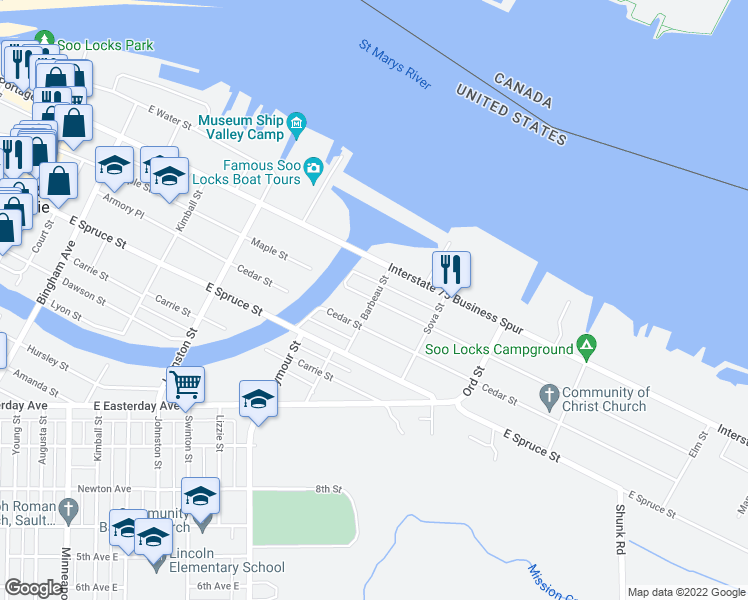 map of restaurants, bars, coffee shops, grocery stores, and more near Maple Street in Sault Ste. Marie