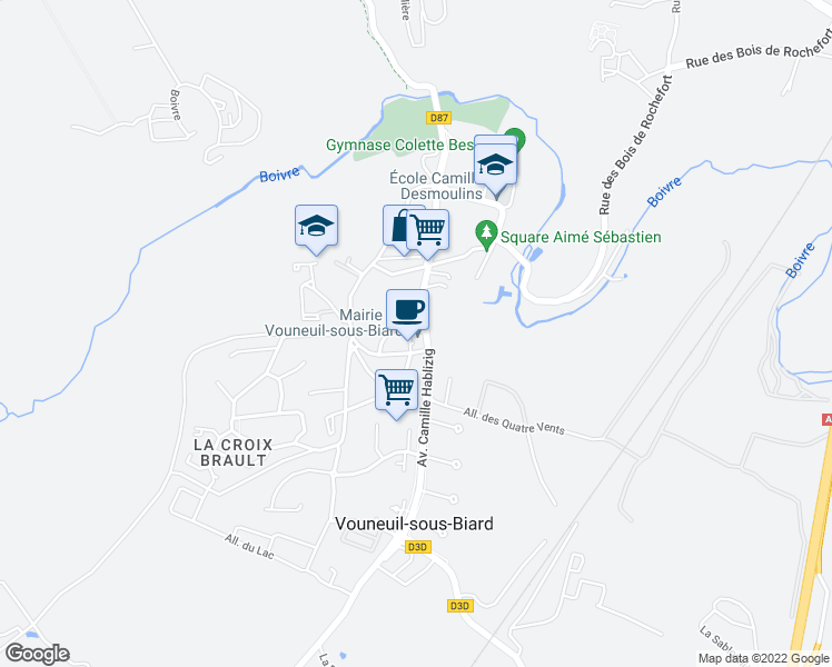 map of restaurants, bars, coffee shops, grocery stores, and more near in Vouneuil-sous-Biard