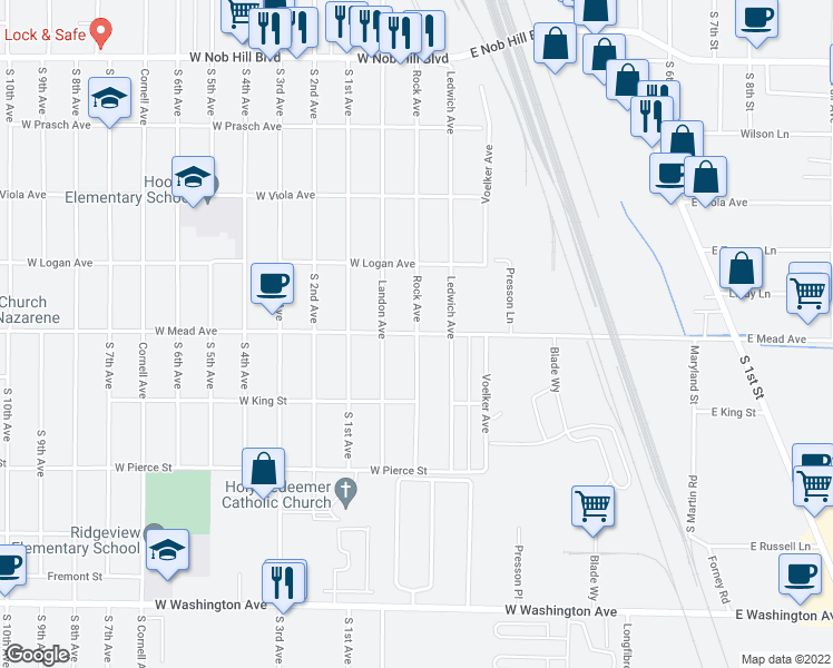 map of restaurants, bars, coffee shops, grocery stores, and more near W Mead Ave & Rock Ave in Yakima