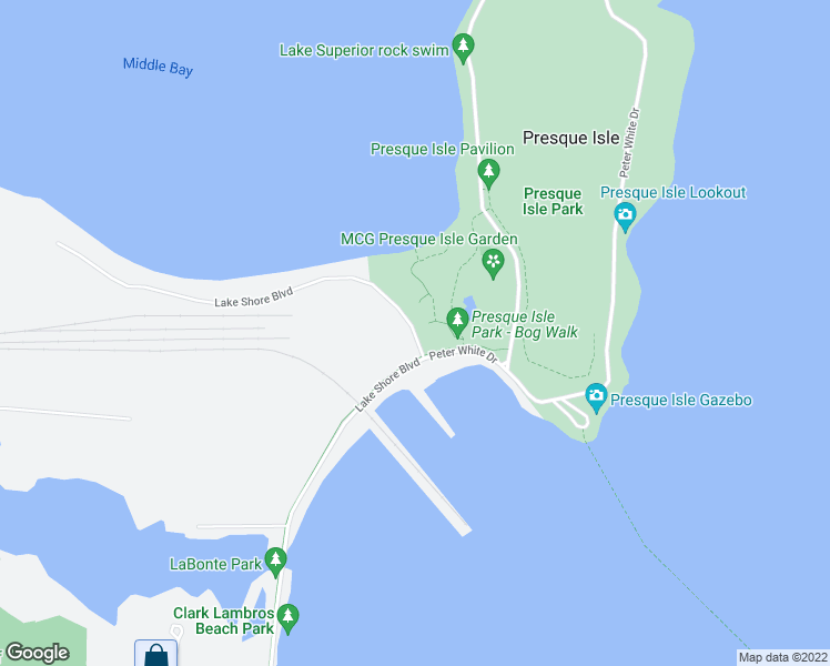 map of restaurants, bars, coffee shops, grocery stores, and more near 3001 Island Beach Rd in Marquette