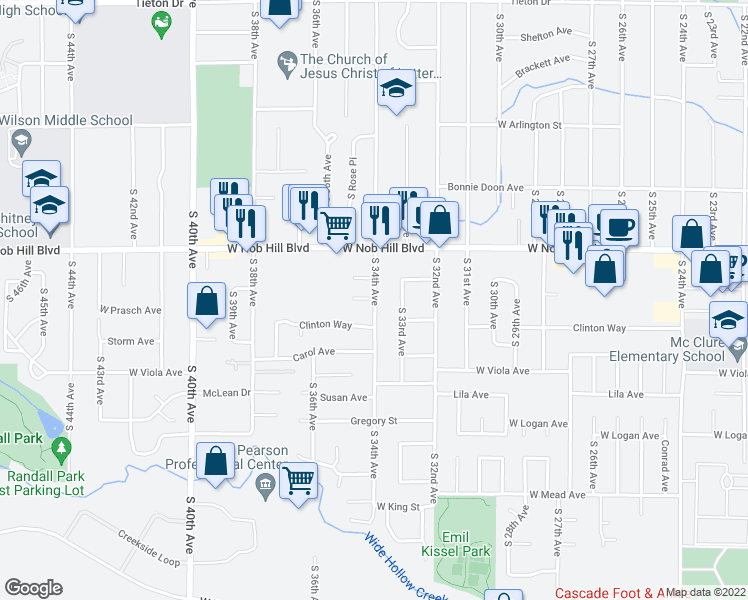 map of restaurants, bars, coffee shops, grocery stores, and more near 1112 South 33rd Avenue in Yakima