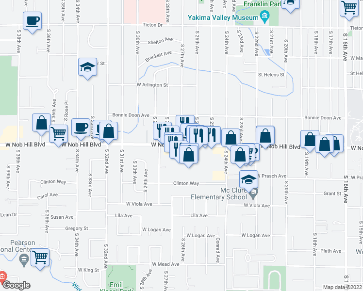 map of restaurants, bars, coffee shops, grocery stores, and more near 2611 West Nob Hill Boulevard in Yakima