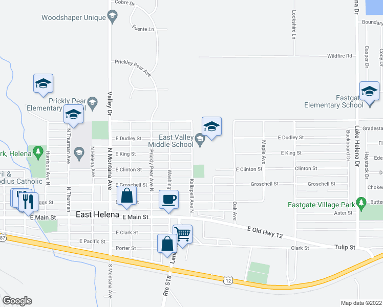 map of restaurants, bars, coffee shops, grocery stores, and more near 302 Kalispell Avenue North in East Helena