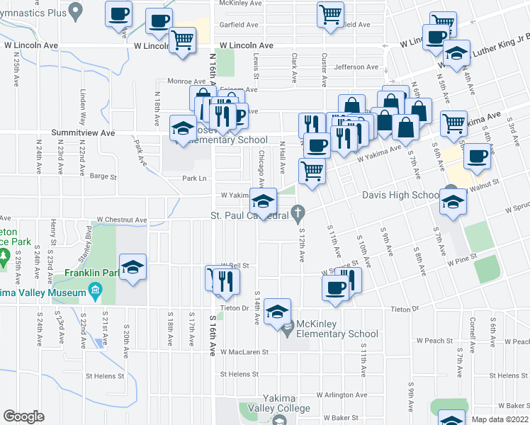 map of restaurants, bars, coffee shops, grocery stores, and more near 1401 W Chestnut Ave in Yakima