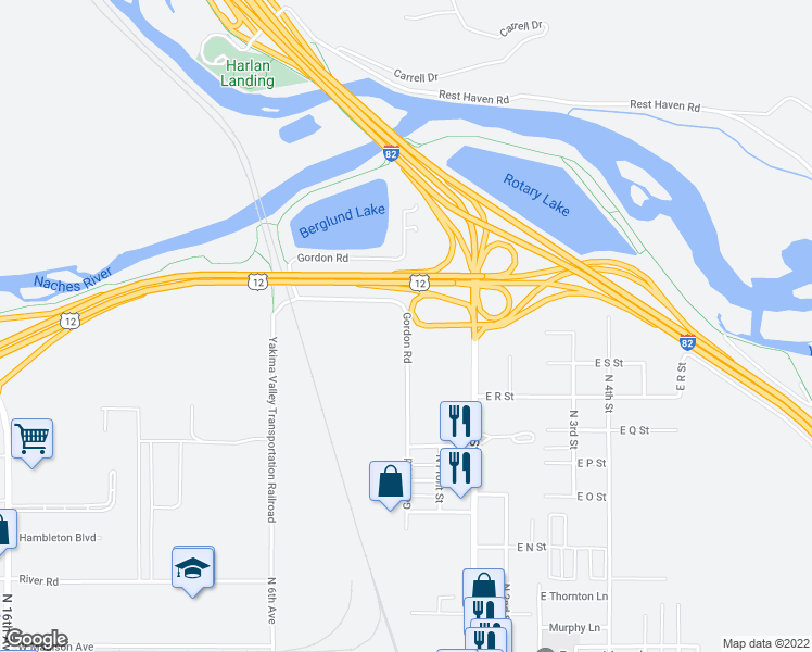 map of restaurants, bars, coffee shops, grocery stores, and more near 1705-2099 Gordon Road in Yakima