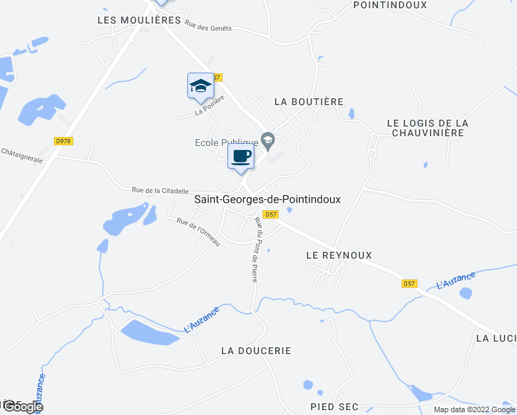 map of restaurants, bars, coffee shops, grocery stores, and more near in Saint-Georges-de-Pointindoux