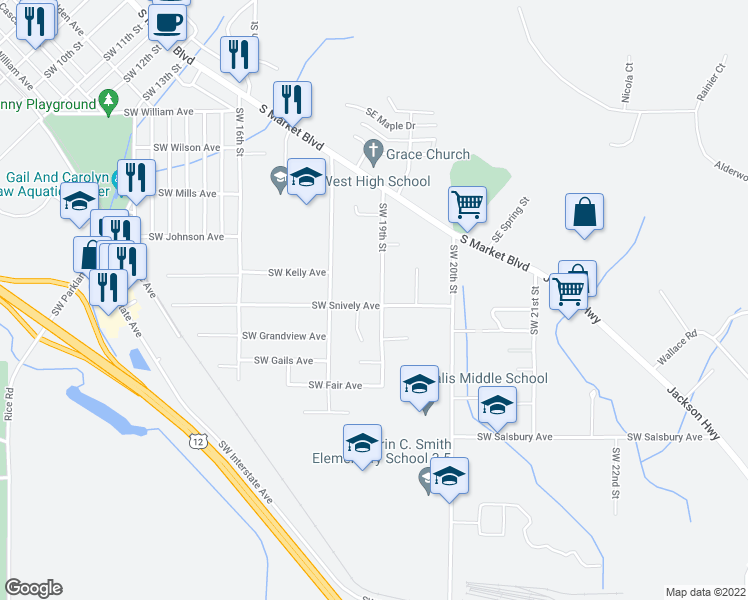 map of restaurants, bars, coffee shops, grocery stores, and more near 667 Southwest 19th Street in Chehalis