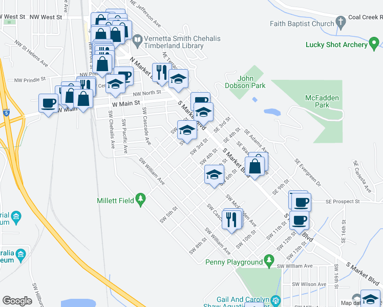 map of restaurants, bars, coffee shops, grocery stores, and more near 89 Southwest 3rd Street in Chehalis