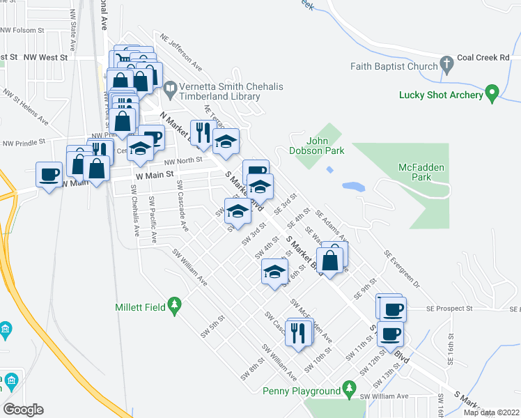 map of restaurants, bars, coffee shops, grocery stores, and more near 123 South Market Boulevard in Chehalis