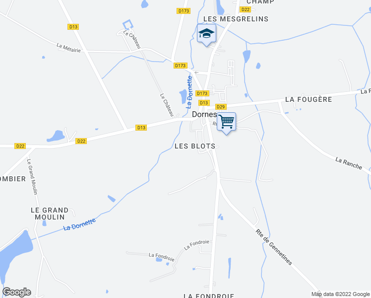 map of restaurants, bars, coffee shops, grocery stores, and more near 11 Rue d'Ettringen in Dornes