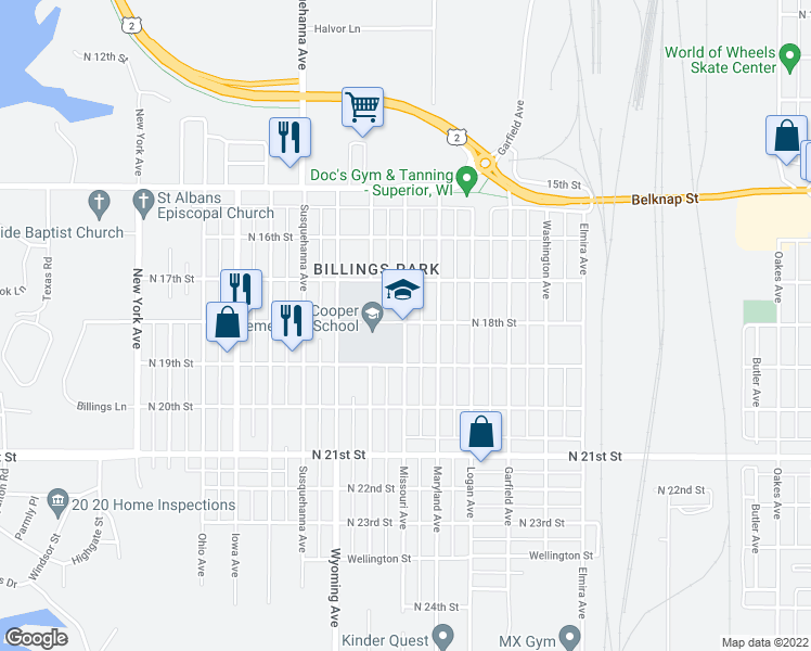 map of restaurants, bars, coffee shops, grocery stores, and more near 2900 North 18th Street in Superior
