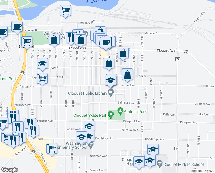 map of restaurants, bars, coffee shops, grocery stores, and more near 1308 Carlton Avenue in Cloquet