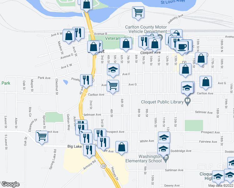 map of restaurants, bars, coffee shops, grocery stores, and more near 508 Carlton Avenue in Cloquet