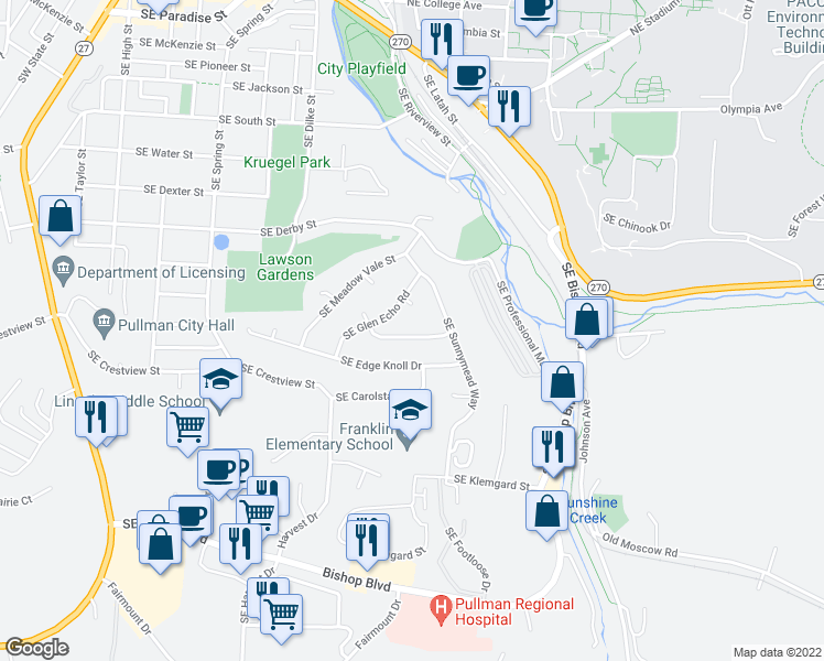 map of restaurants, bars, coffee shops, grocery stores, and more near 840 Southeast Greenhill Road in Pullman