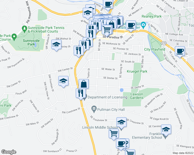 map of restaurants, bars, coffee shops, grocery stores, and more near 705 Southeast High Street in Pullman