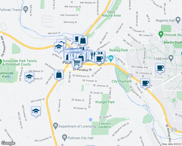 map of restaurants, bars, coffee shops, grocery stores, and more near 235 Southeast Daniel Street in Pullman