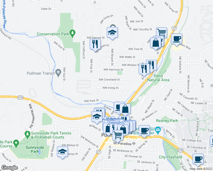 map of restaurants, bars, coffee shops, grocery stores, and more near 600 Northwest Gary Street in Pullman