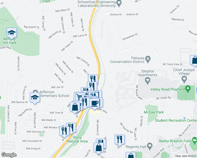 map of restaurants, bars, coffee shops, grocery stores, and more near N Grand Ave & NW Turner Dr in Pullman