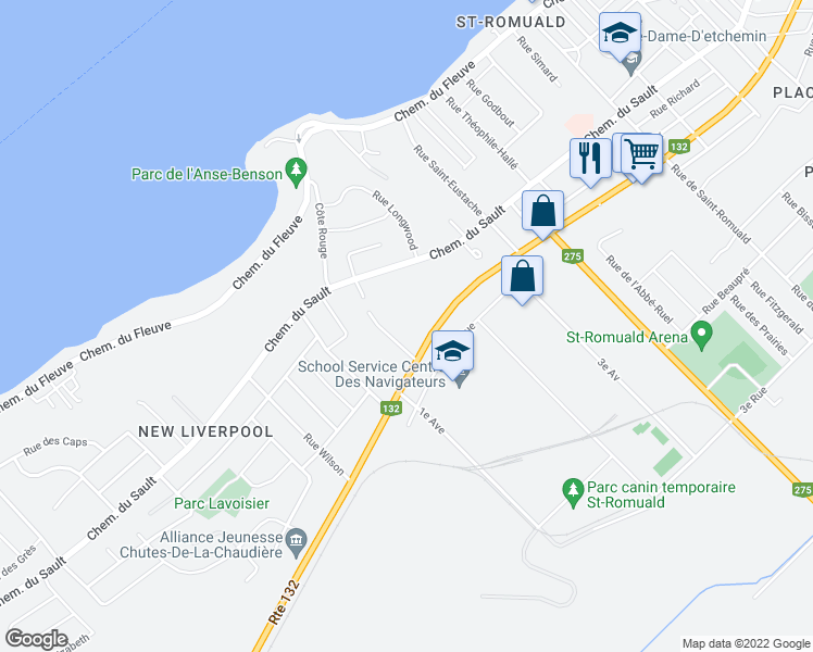 map of restaurants, bars, coffee shops, grocery stores, and more near 1875 Boulevard Guillaume-Couture in Lévis