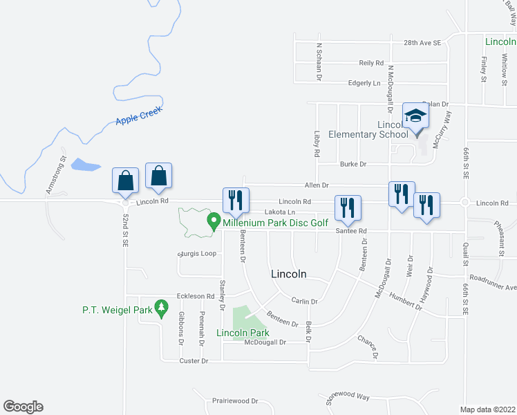 map of restaurants, bars, coffee shops, grocery stores, and more near 1106 Lakota Lane in Lincoln