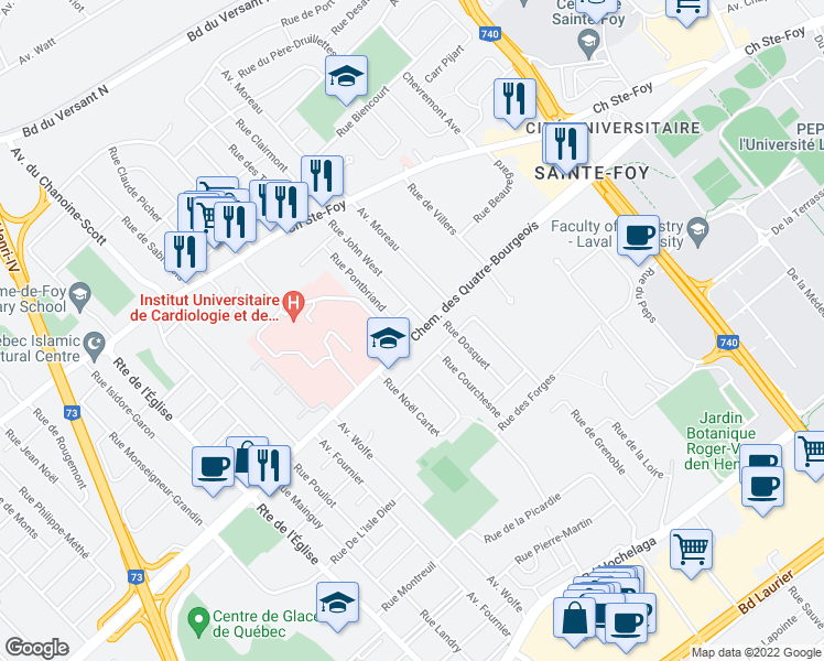 map of restaurants, bars, coffee shops, grocery stores, and more near 2664 Chemin des Quatre-Bourgeois in Québec