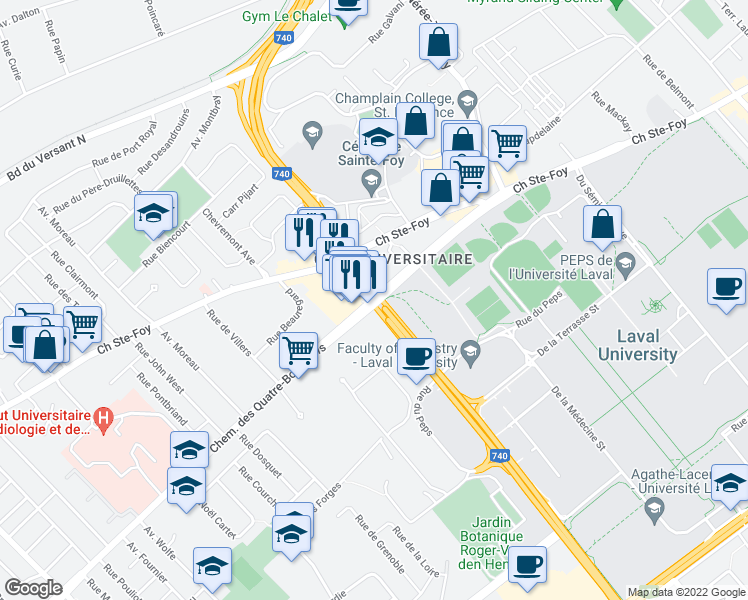 map of restaurants, bars, coffee shops, grocery stores, and more near in Quebec City