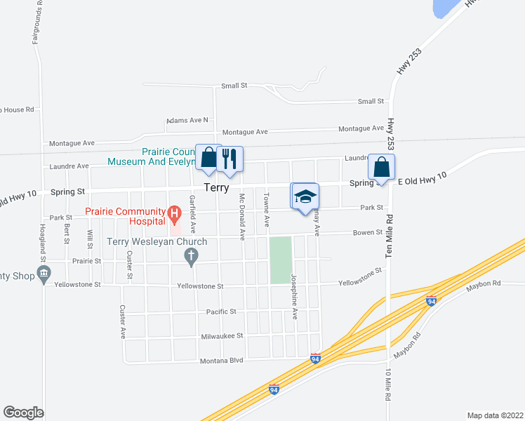map of restaurants, bars, coffee shops, grocery stores, and more near 205 Towne Avenue in Terry