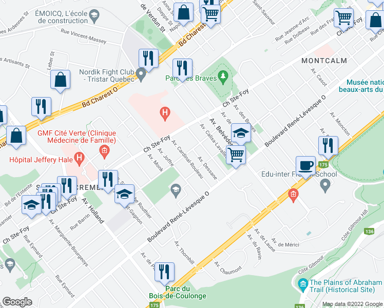 map of restaurants, bars, coffee shops, grocery stores, and more near 870 Avenue Dessane in Ville de Québec
